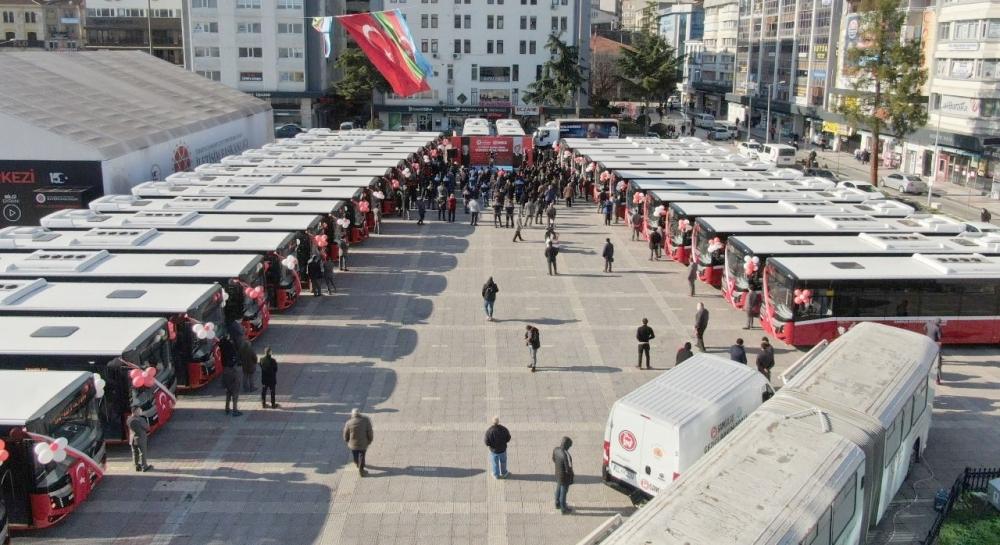 Yeni alınan 33 adet otobüs bugün sefere başladı